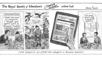 A comic strip about the Literature Matters Hub